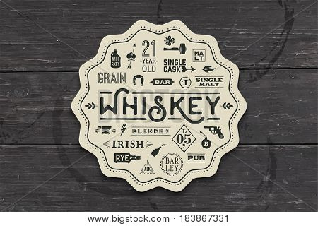 Coaster for whiskey and alcoholic beverages. Vintage drawing for bar, pub and whiskey themes. Black and white square for placing whiskey glass over it with lettering, drawings. Vector Illustration