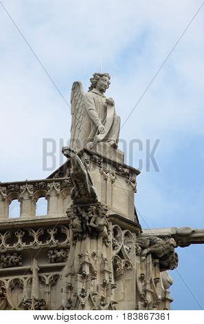 Angel statue in Saint-Jacques Tower. Paris, France