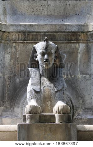 Sphinx statue in Fontaine du Palmier Paris, France