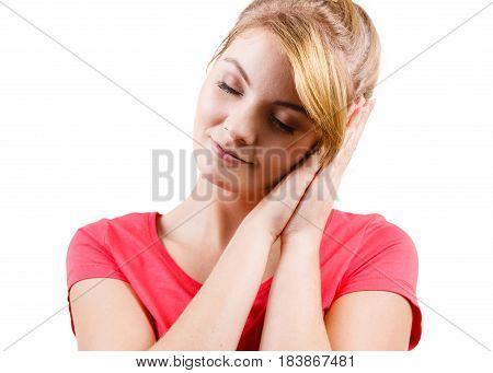 Woman Sleepy Tired Girl Almost Falling Asleep