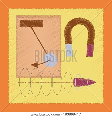 flat shading style icon school Physics lesson magnet