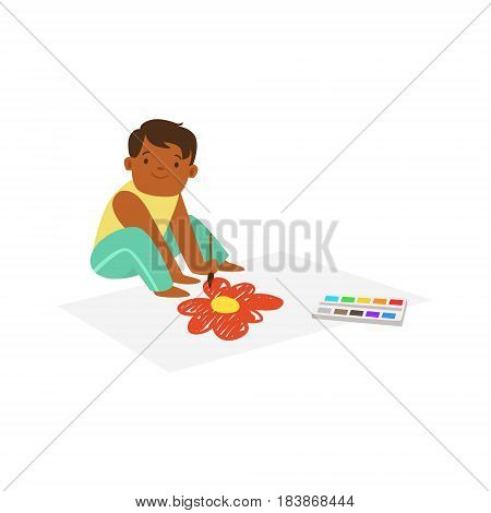Cute litttle boy sitting onthe floor and drawing on a big paper. A small artist, education and child development. Colorful character vector Illustration isolated on a white background