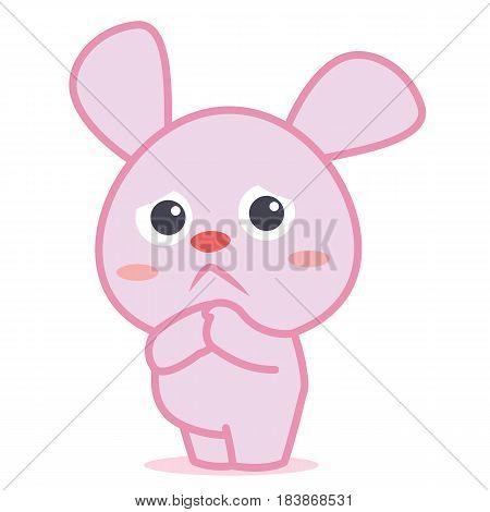 Sad bunny cartoon character collection vector illustration