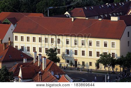 ZAGREB, CROATIA - MAY 31: Historic lower town architecture with building of the Archbishopric Theological Seminary in Zagreb, Croatia on May 31, 2015.