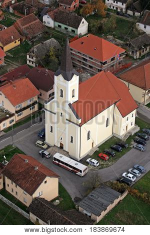 HRVATSKA DUBICA, CROATIA - NOVEMBER 07: Parish Church of Holy Trinity in Hrvatska Dubica, Croatia on November 07, 2007.