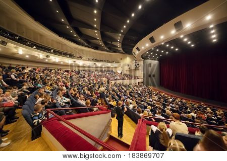 MOSCOW - NOV 19, 2016: People wait Carlson performance in Moscow theater of Satire