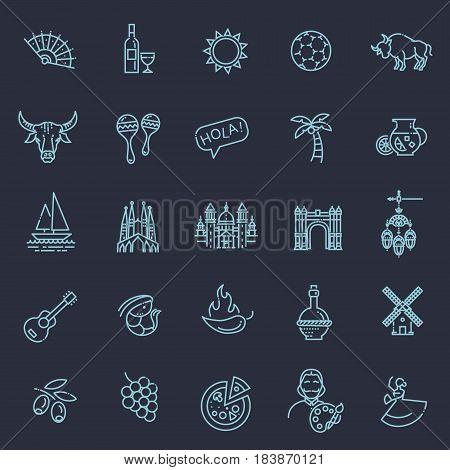 Spain traditional symbols set. Travel vector element