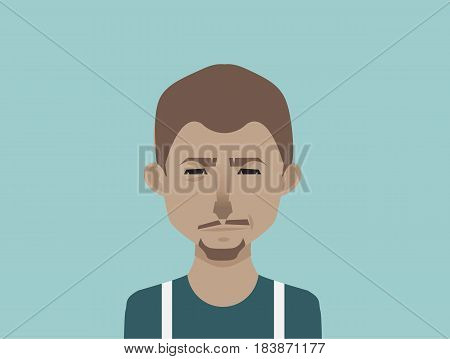 African american man. Male avatar icon in flat style. Male user icon. Cartoon man avatar. Vector stock.