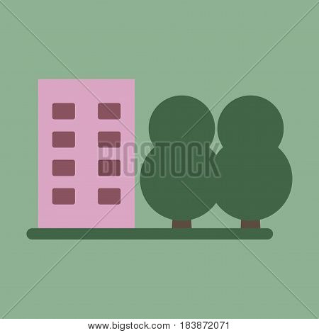 Vector illustration of flat icon multi-storey building