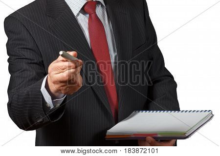 Mature Businessman Offering A Marker And Holding A Notebook Isolated Portrait