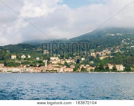 Menaggio Italy - august 25 2015: Menaggio view with perspective and from the ferry landing stage