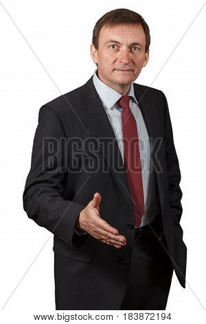 Confident Mature Businessman Giving A Hand For Greetings On White Isolated Background