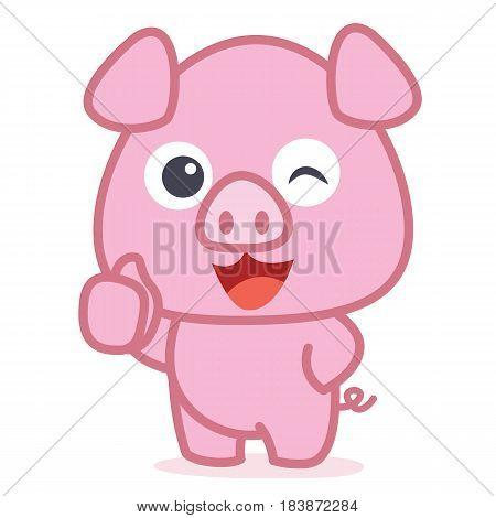 Character of cute pig cartoon vector art illustration