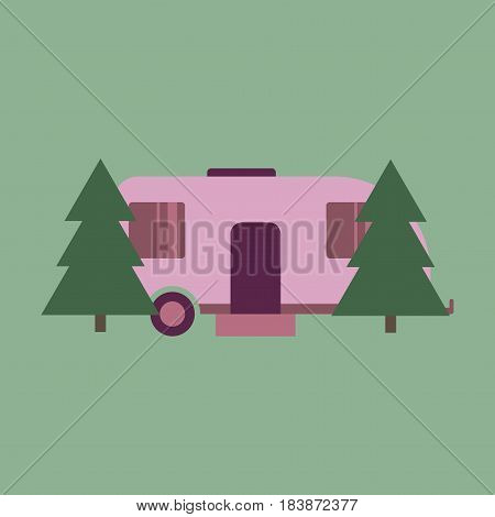 Vector illustration of flat icon Trailer in forest