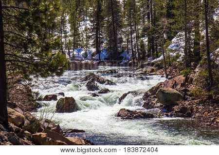 Rushing Creek From Snow Melt In Mountains