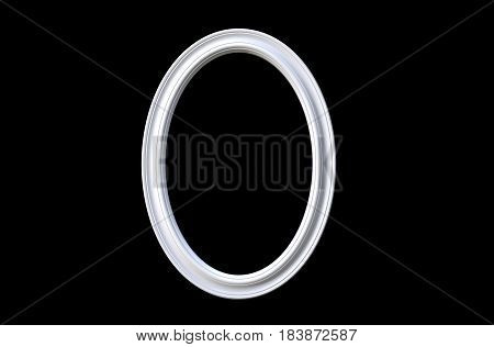 3d rendering of cool isolated modern hanging white color oval shape photo frame on a black background