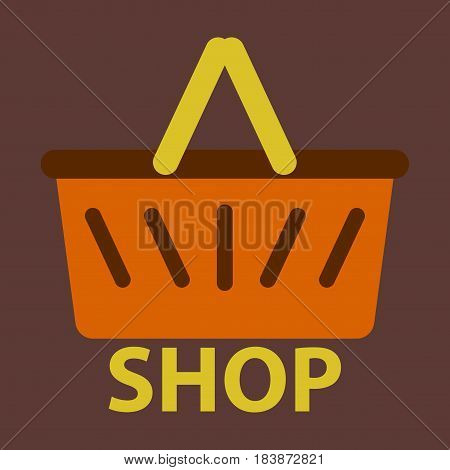 Vector illustration of flat icon basket shop