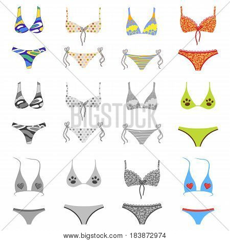 Two-piece swimsuits colored and grey set isolated on white background. Vector illustration. You can use this image for fashion design and etc.