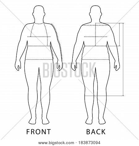 Full length front back view of a fat standing naked woman outlined silhouette with marked body sizes lines isolated on white background. Vector illustration. You can use this image for fashion design and etc.