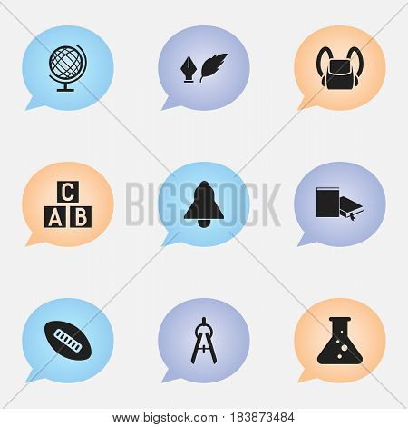 Set Of 9 Editable Education Icons. Includes Symbols Such As Chemistry, Schoolbag, Bell And More. Can Be Used For Web, Mobile, UI And Infographic Design.