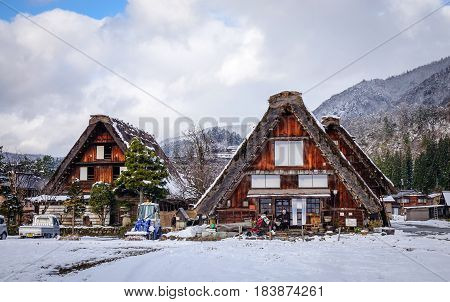 Winter Scenery In Shirakawa-go, Japan