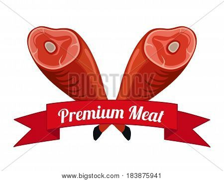 Meat logo, label for menu, restaurants, butchery shops. Fresh meat, beef, pork. Made in cartoon flat style with ribbon.