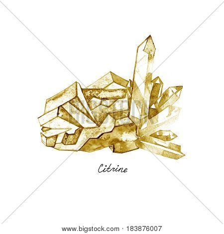 Gem stone Citrine isolated on white background. Close up illustration of healing crystals drawn by hand with watercolor.