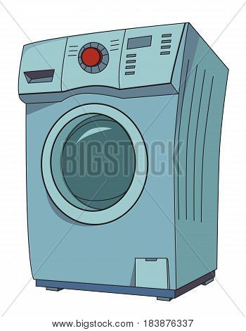 Cartoon image of washing machine. An artistic freehand picture.