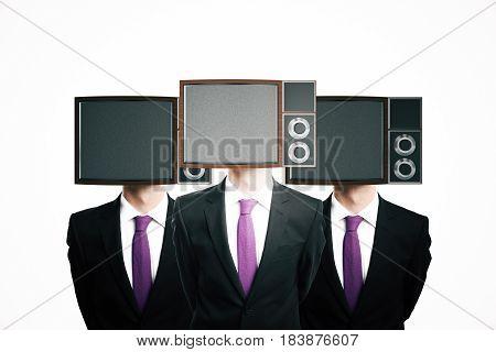 Obsolete TV screen headed businessmen on white background. Mock up 3D Rendering
