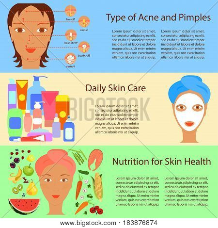 Facial treatment flyer.Types of acne pimples on human face skin. Packaging containers cosmetics, package cream, Beauty products set. Modern flat design. Vector illustration eps 10