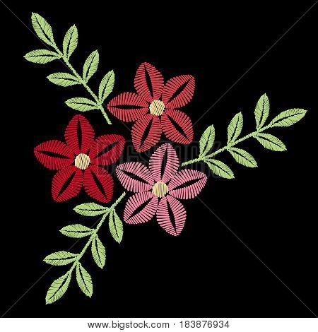 Colorful flower with leaf embroidery stitches imitation. Floral pattern for neck line on black background. Embroidery vector.