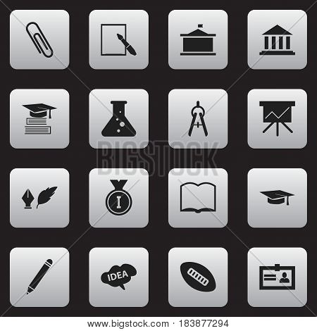 Set Of 16 Editable School Icons. Includes Symbols Such As Chemistry, Pencil, Mind And More. Can Be Used For Web, Mobile, UI And Infographic Design.