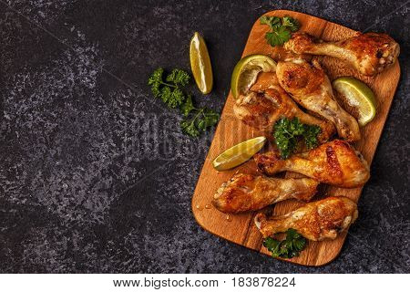 Fried Chicken Legs, Top View.