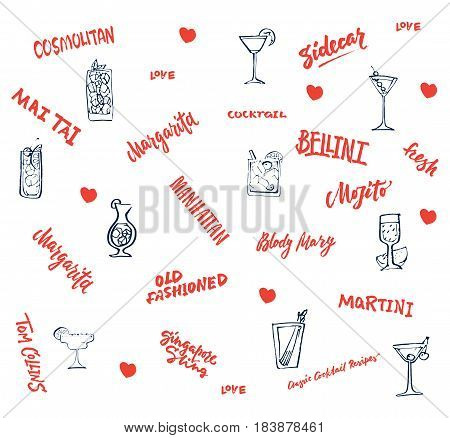 Hand drawn classic cocktails elements collection with red inscriptions alcohol drinks and beverages isolated vector illustration