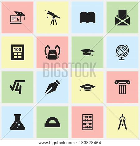 Set Of 16 Editable University Icons. Includes Symbols Such As Math Root, Arithmetic, Nib And More. Can Be Used For Web, Mobile, UI And Infographic Design.