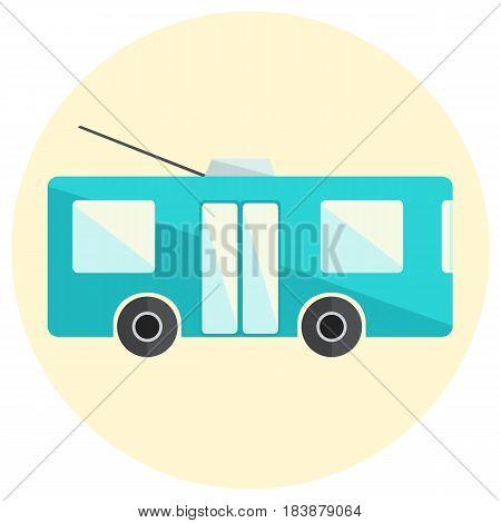 Cute little flat trolley bus icon, bright blue trolleybus icon