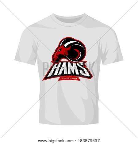 Furious ram sport club vector logo concept isolated on white t-shirt mockup. Modern professional team badge mascot design. Premium quality wild ram animal athletic t-shirt tee print illustration.