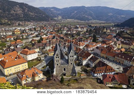 Friesach medieval town center and Romanesque Parish Church