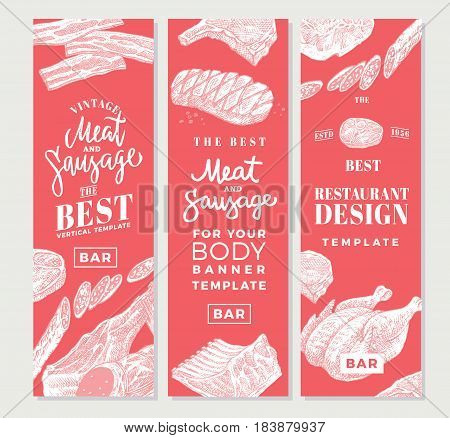 Hand drawn meat vertical banners with chicken beef pork bacon sausages steak salami products vector illustration