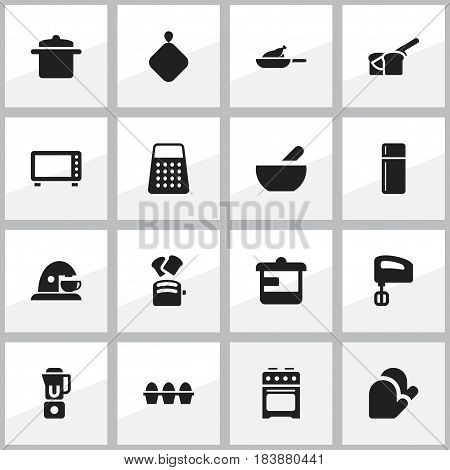 Set Of 16 Editable Food Icons. Includes Symbols Such As Cookware, Kitchen Glove, Grill And More. Can Be Used For Web, Mobile, UI And Infographic Design.