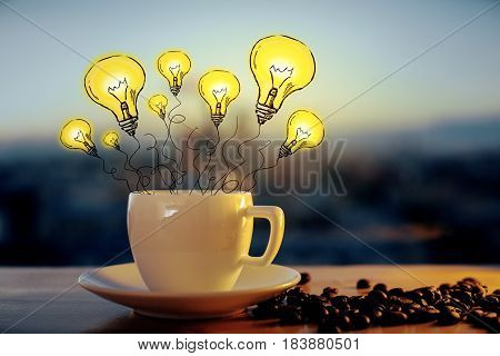 Close up of coffee cup with abstract lamps on blurry city background. Idea concept