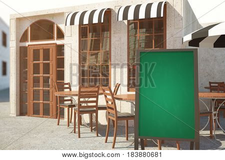 Side view of summer cafe veranda with empty chalkboard stand. Menu concept. Mock up 3D Rendering