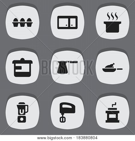 Set Of 9 Editable Food Icons. Includes Symbols Such As Sideboard, Coffee Pot, Agitator And More. Can Be Used For Web, Mobile, UI And Infographic Design.