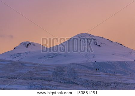 2014 07 Mount Elbrus, Russia: Panoramic view of Elbrus mountain from station Shelter 11