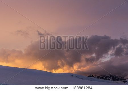 2014 07 Mount Elbrus, Russia: Panoramic view from Garabashi station on Elbrus mountain