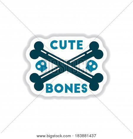 paper sticker on stylish background of cross bones