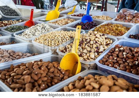 Selection of nuts on shelf in the local market