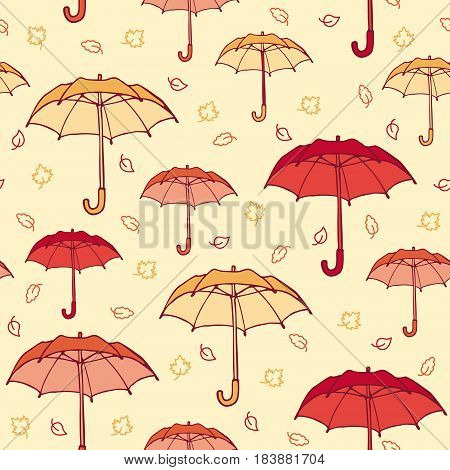 Colorful hand drawn autumn seamless pattern with opened umbrellas and falling maple birch oak leaves vector illustration