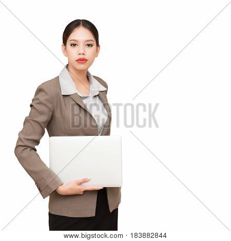 Young pretty business woman with notebook.On a white background