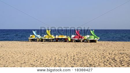 Pedalos on the beach